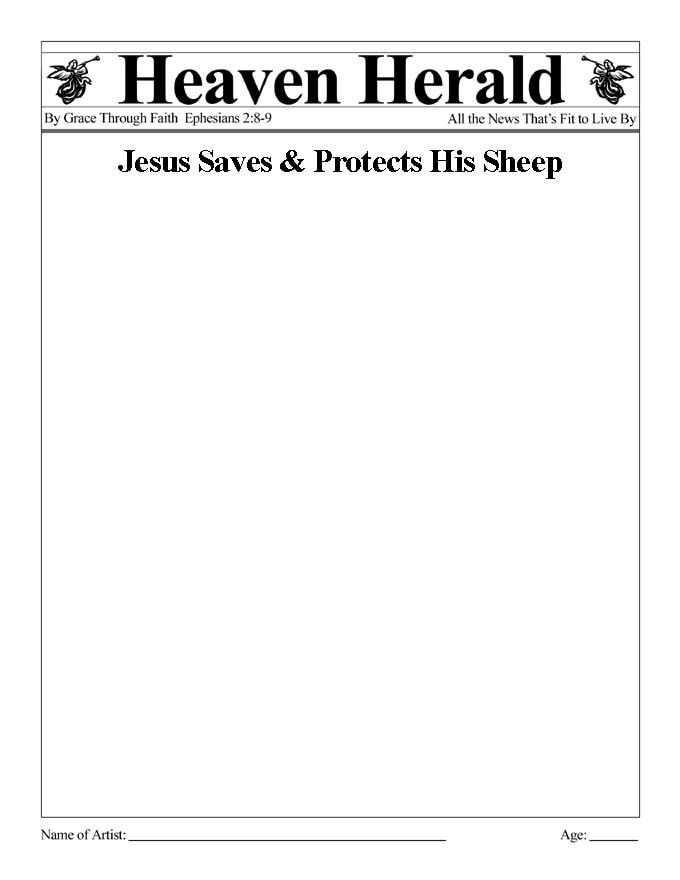 Draw something to go with this headline: Jesus Saves & Protects His Sheep