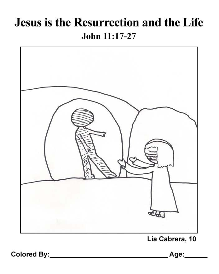 Coloring Page: Jesus is the Resurrection and the Life
