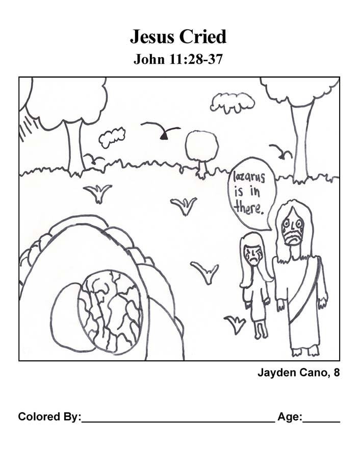 Coloring Page: Jesus Wept