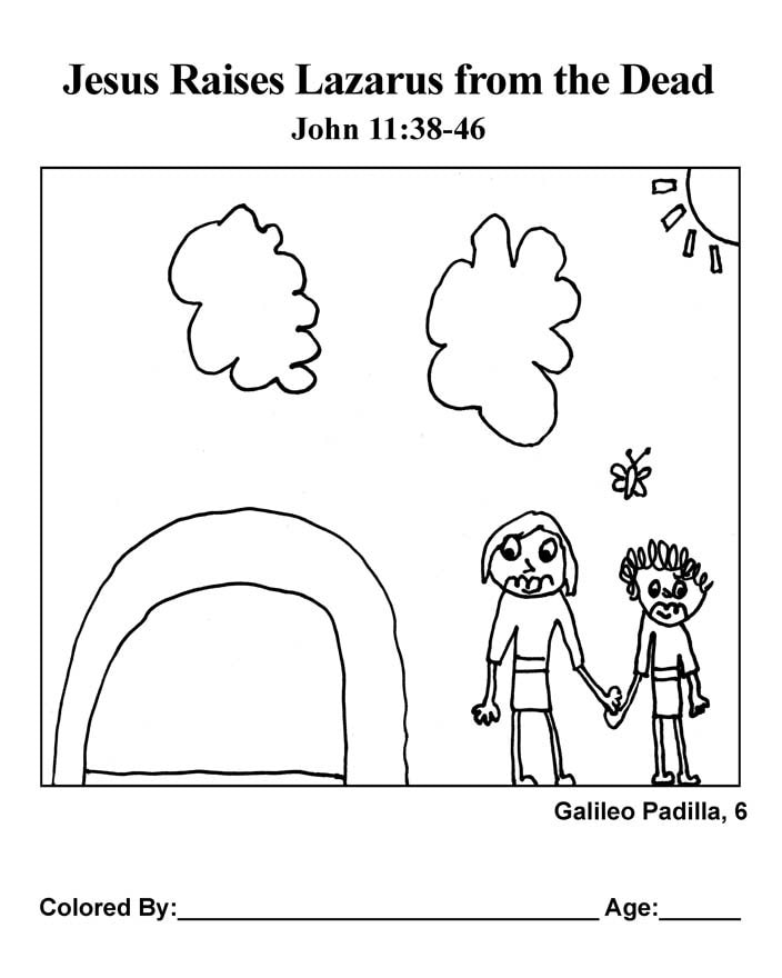 Coloring Page: Jesus Raises Lazarus from the Dead