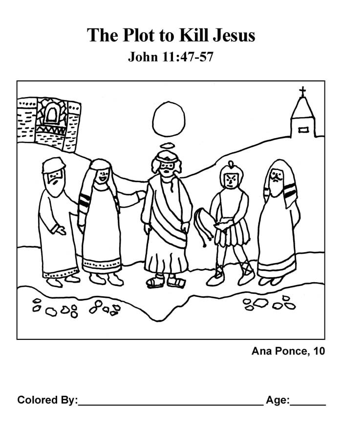 Coloring Page: The Plot to Kill Jesus