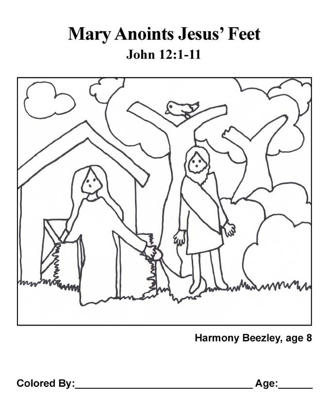 Bible coloring page: Mary pours perfume on feet of Jesus