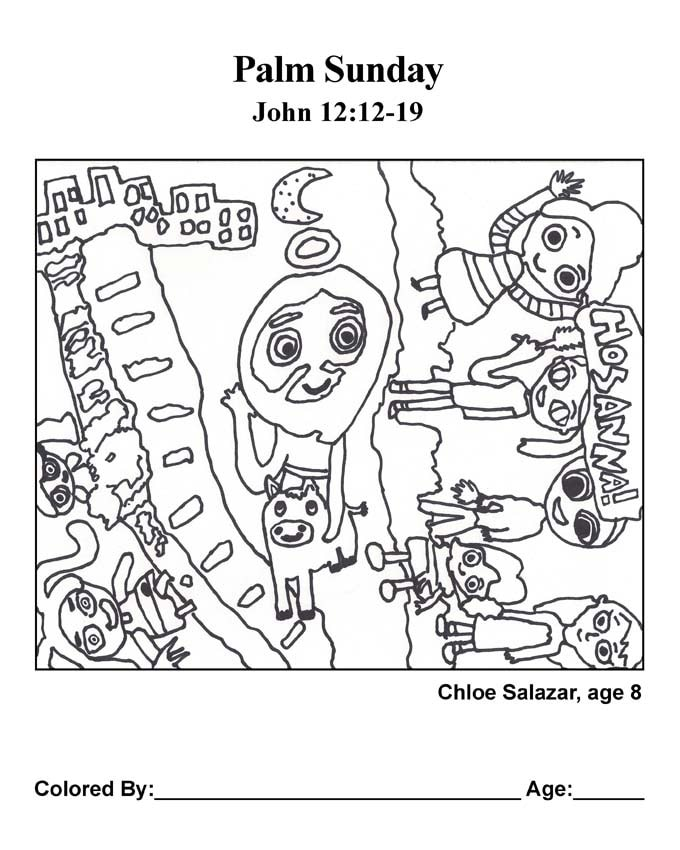 Bible coloring page: Palm Sunday