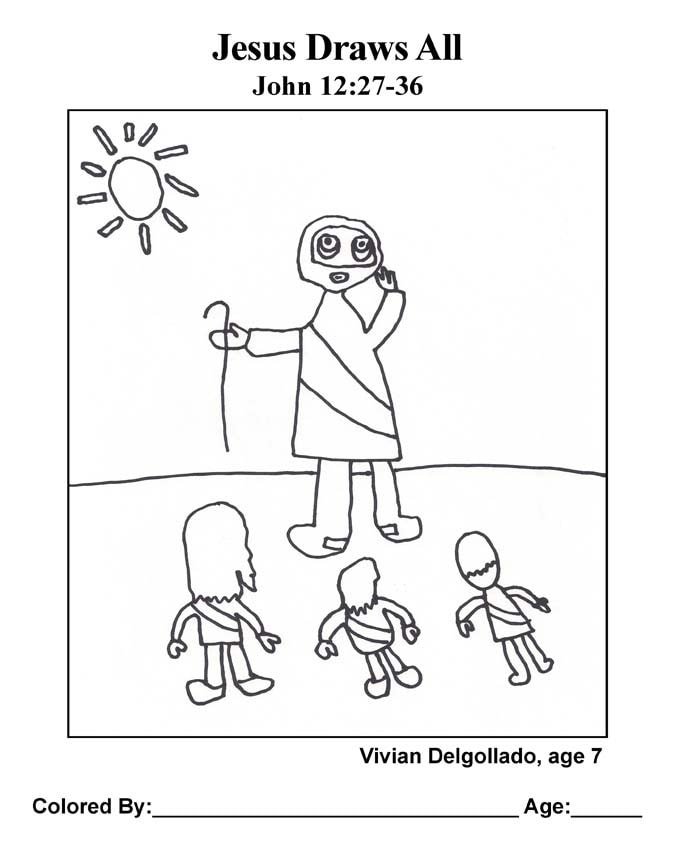 Bible coloring page: Jesus Draws All